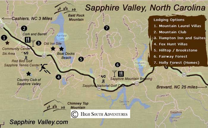 Sapphire Valley Resort Lodging Map